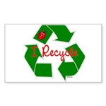 I Recycle Sticker (Rectangle 50 pk)