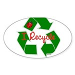 I Recycle Sticker (Oval 10 pk)