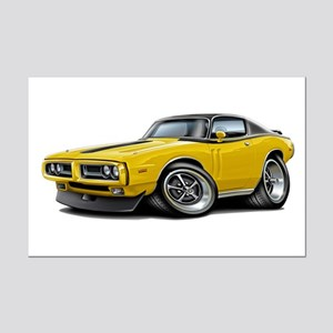 Charger Yellow-Black Top Car Mini Poster Print
