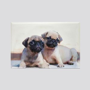 Pug puppies Rectangle Magnet