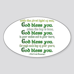 Irish Blessing--God Bless You Sticker (Oval)