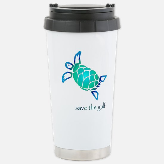 save the gulf - sea turtle bl Stainless Steel Trav