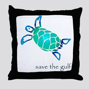 save the gulf - sea turtle bl Throw Pillow