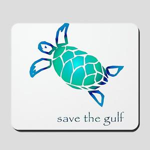 save the gulf - sea turtle bl Mousepad