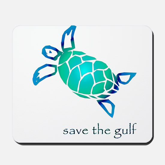 save the gulf - sea turtle bl Mousepad