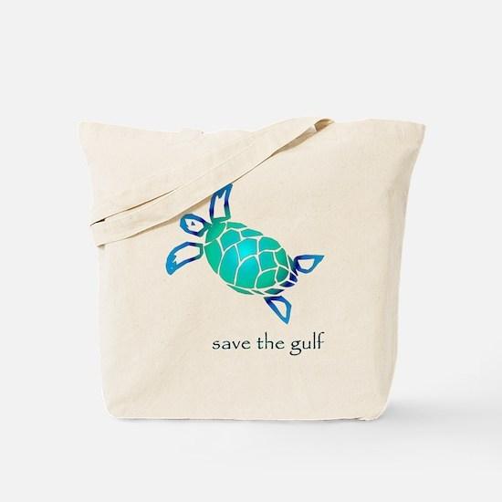 save the gulf - sea turtle bl Tote Bag