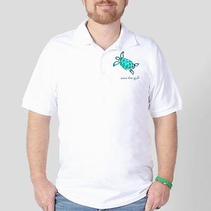 save the gulf - sea turtle bl Golf Shirt