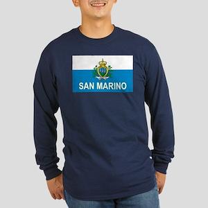 Sammarinese Flag (labeled) Long Sleeve Dark T-Shir