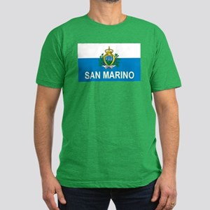 Sammarinese Flag (labeled) Men's Fitted T-Shirt (d