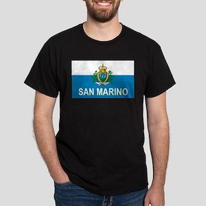 Sammarinese Flag (labeled) Dark T-Shirt