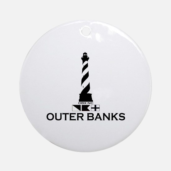 Outer Banks NC - Lighthouse Design Ornament (Round