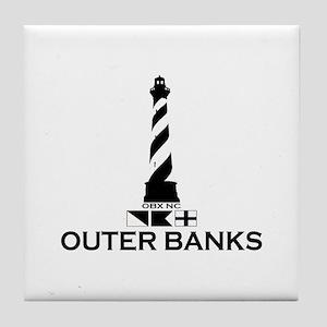 Outer Banks NC - Lighthouse Design Tile Coaster
