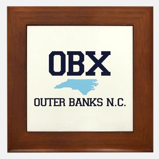 Outer Banks NC - Map Design Framed Tile