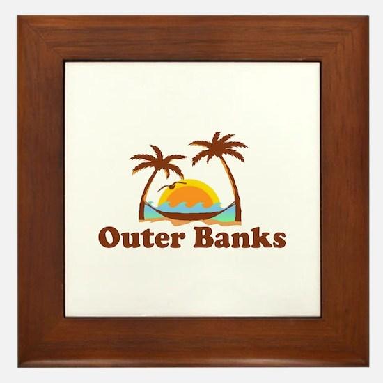 Outer Banks NC - Palm Trees Design Framed Tile