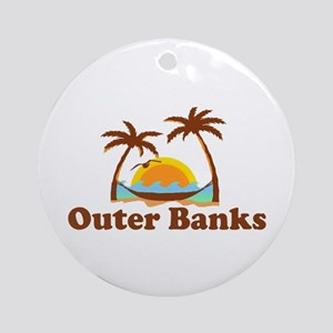 Outer Banks NC - Palm Trees Design Ornament (Round