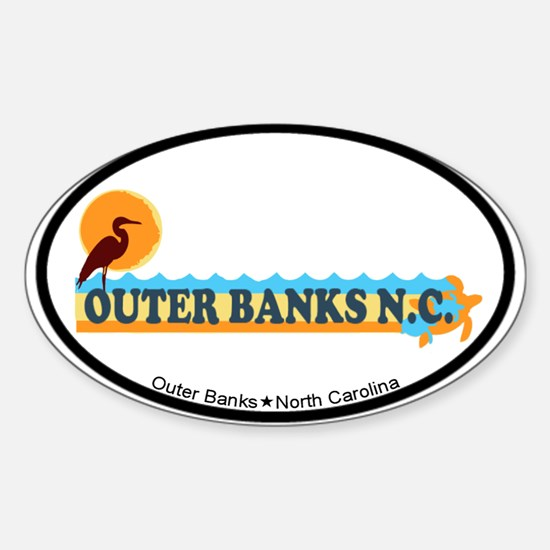 Outer Banks NC - Beach Design Sticker (Oval)