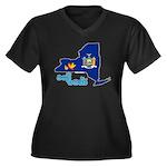 ILY New York Women's Plus Size V-Neck Dark T-Shirt