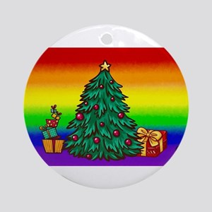 GAY Christmas art Round Ornament