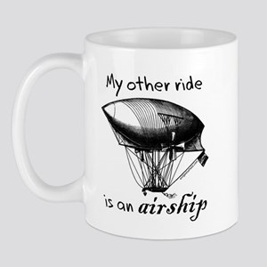 Other ride is an airship steampunk Mug