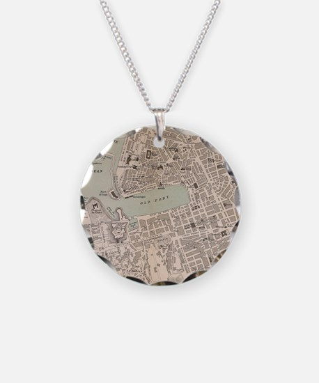 Vintage Map of Marseille Fra Necklace