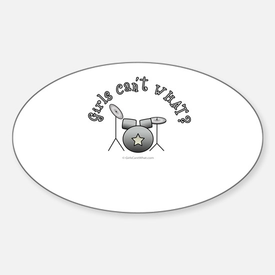 Silver Drum Set Sticker (Oval)