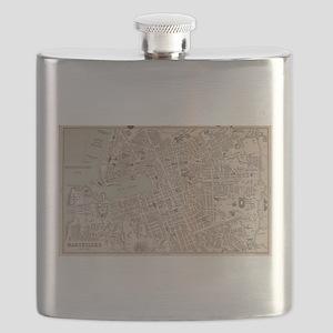 Vintage Map of Marseille France (1896) Flask