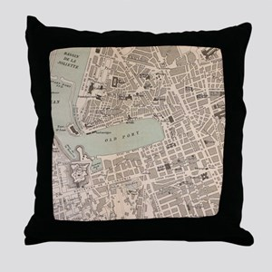 Vintage Map of Marseille France (1896 Throw Pillow