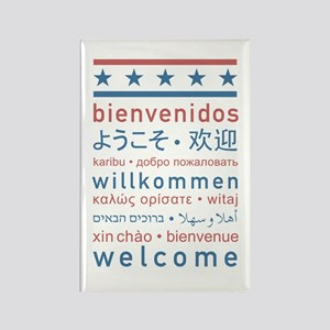 """""""Welcome USA"""" Rectangle Magnet"""