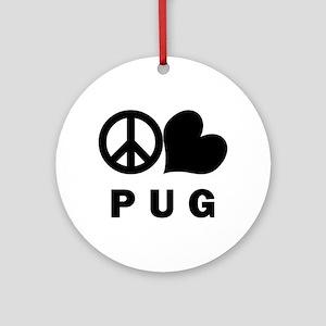 Peace Love Pug Ornament (Round)