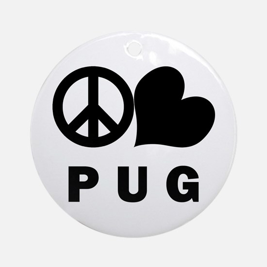 Peace Love Pug Ornament (Round)