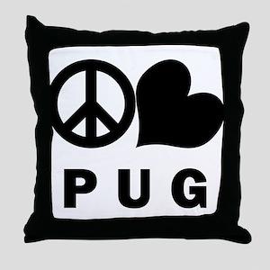 Peace Love Pug Throw Pillow
