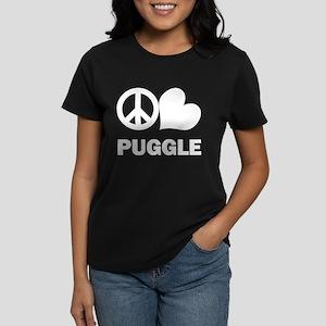 Peace Love Puggle Women's Dark T-Shirt