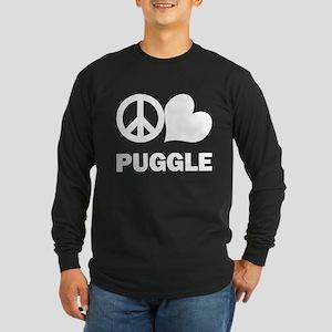 Peace Love Puggle Long Sleeve Dark T-Shirt