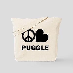 Peace Love Puggle Tote Bag