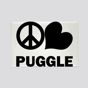 Peace Love Puggle Rectangle Magnet
