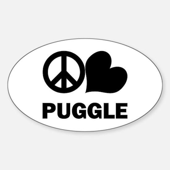 Peace Love Puggle Sticker (Oval)
