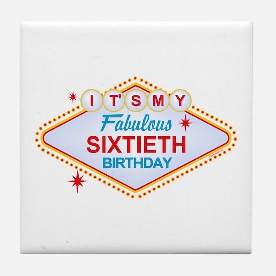 Las Vegas Birthday 60 Tile Coaster