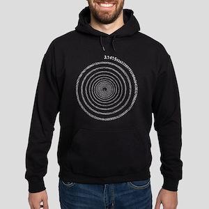 Pi Spiral (white) Hoodie (dark)
