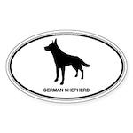 German Shepherd Euro Oval Sticker (Oval 50 pk)