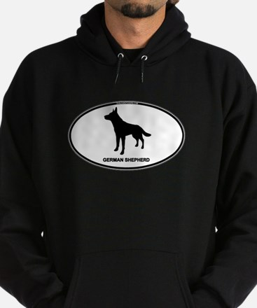 German Shepherd Euro Oval Hoodie (dark)