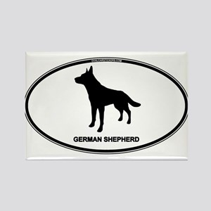 German Shepherd Euro Oval Rectangle Magnet