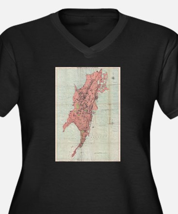 Vintage Map of Bombay India (189 Plus Size T-Shirt