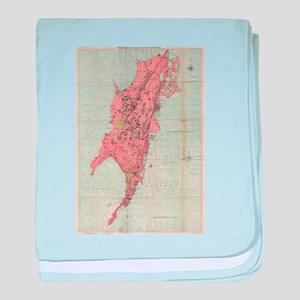 Vintage Map of Bombay India (1895) baby blanket