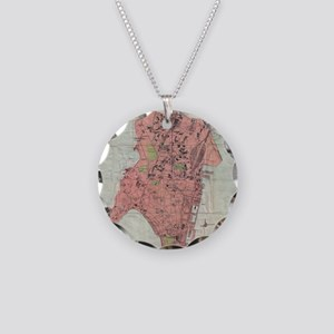 Vintage Map of Bombay India Necklace Circle Charm