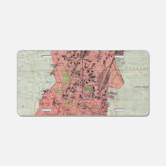 Vintage Map of Bombay India Aluminum License Plate