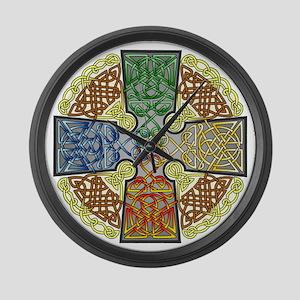 Elemental Celtic Cross Large Wall Clock