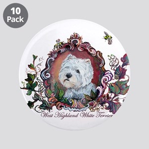 "Westie Portrait Dog Art 3.5"" Button (10 pack)"