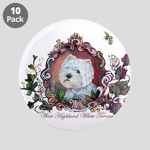 "Westie Portrait Dog Art 3.5"" Button (10 pack)"