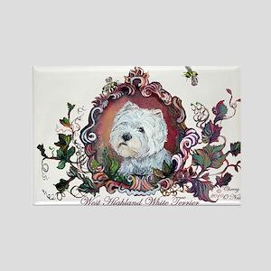Westie Portrait Dog Art Rectangle Magnet