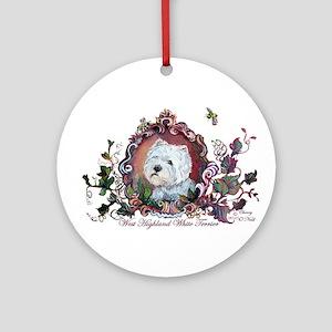 Westie Portrait Dog Art Ornament (Round)